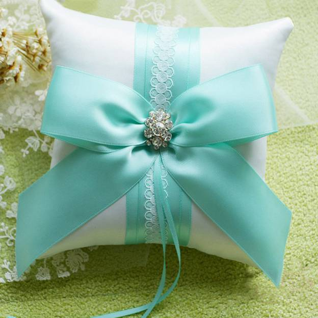 Wedding As Picture Satin Ring Pillows With Imitation Pearl Bowknot Ribbons