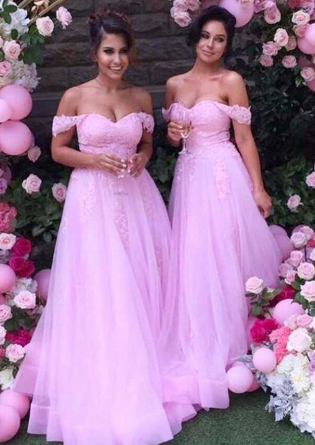 A-Line/Princess Off-The-Shoulder Sleeveless Long/Floor-Length Tulle Bridesmaid Dresses With Lace