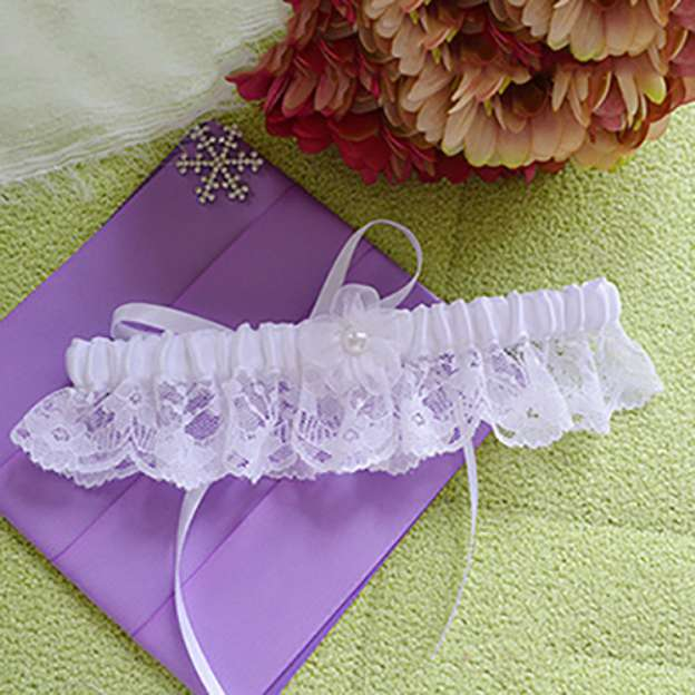 Satin Special Occasion Wedding Garter With Lace Flowers
