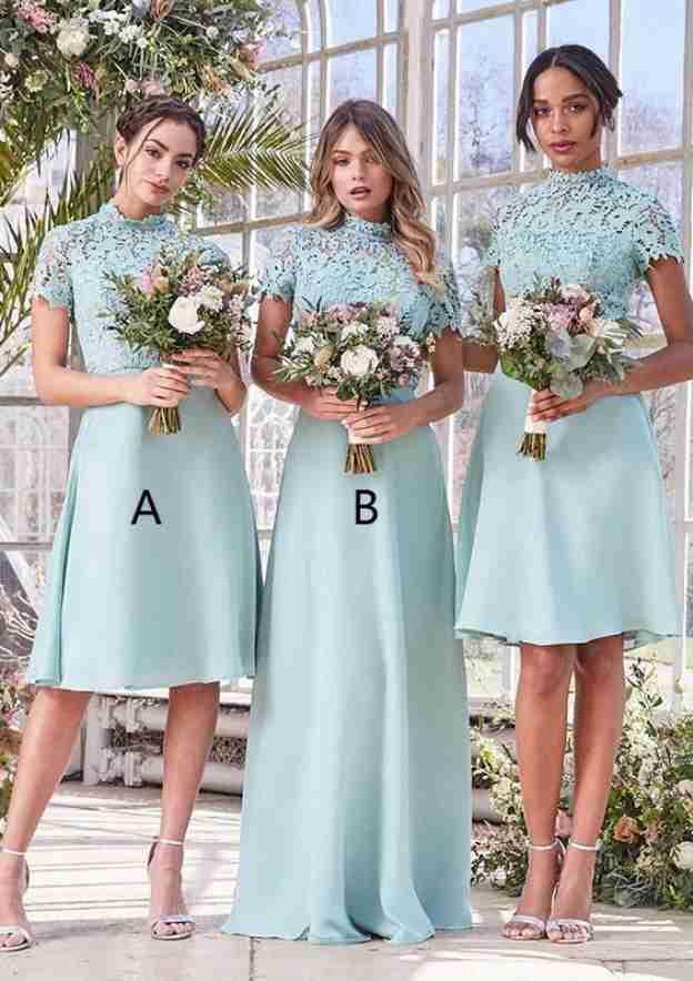 A-Line/Princess High-Neck Short Sleeve Knee-Length Satin Bridesmaid Dresses With Lace