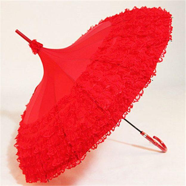 Plastic Cotton Women'S Hook Handle Wedding Umbrellas