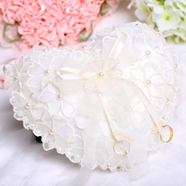 Wedding As Picture Lace Ring Pillows With Flower Imitation Pearl Ribbons