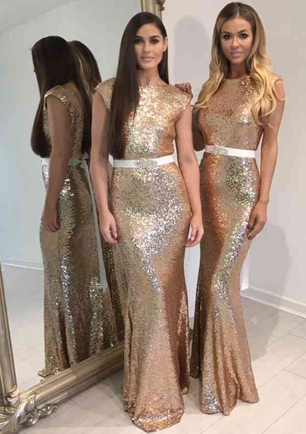 Sheath/Column Bateau Sleeveless Long/Floor-Length Sequined Bridesmaid Dresses With Waistband