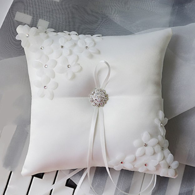 Wedding As Picture Satin Ring Pillows With Rhinestone Flower