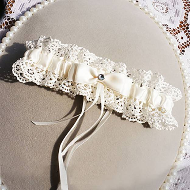Satin Special Occasion Wedding Garter With Bowknot Rhinestone