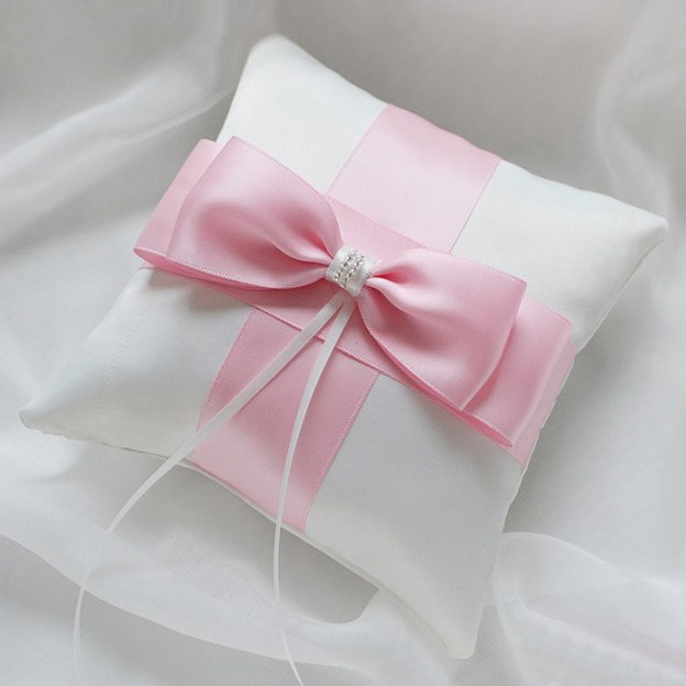 Wedding As Picture Satin Ring Pillows With Crystal Bowknot Ribbons