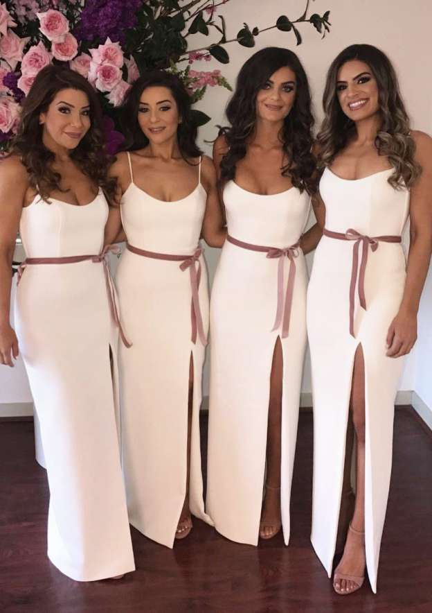 Sheath/Column Scoop Neck Sleeveless Long/Floor-Length Elastic Satin Bridesmaid Dresses With Sashes Split
