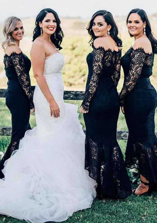 Trumpet/Mermaid Off-The-Shoulder Full/Long Sleeve Asymmetrical Lace Bridesmaid Dresses