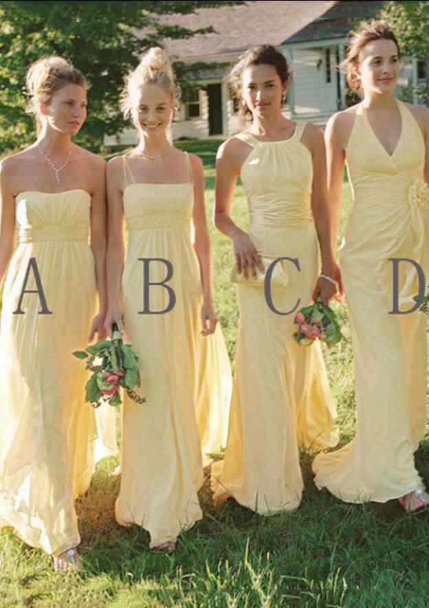 A-Line/Princess Sleeveless Long/Floor-Length Chiffon Bridesmaid Dresses With Pleated