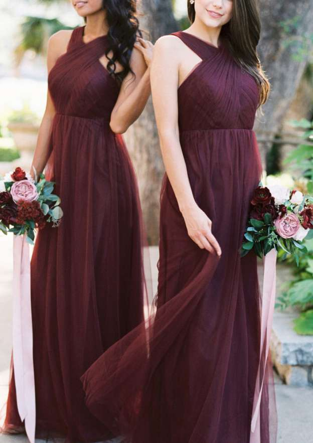 A-Line/Princess V Neck Sleeveless Long/Floor-Length Tulle Bridesmaid Dresses With Pleated
