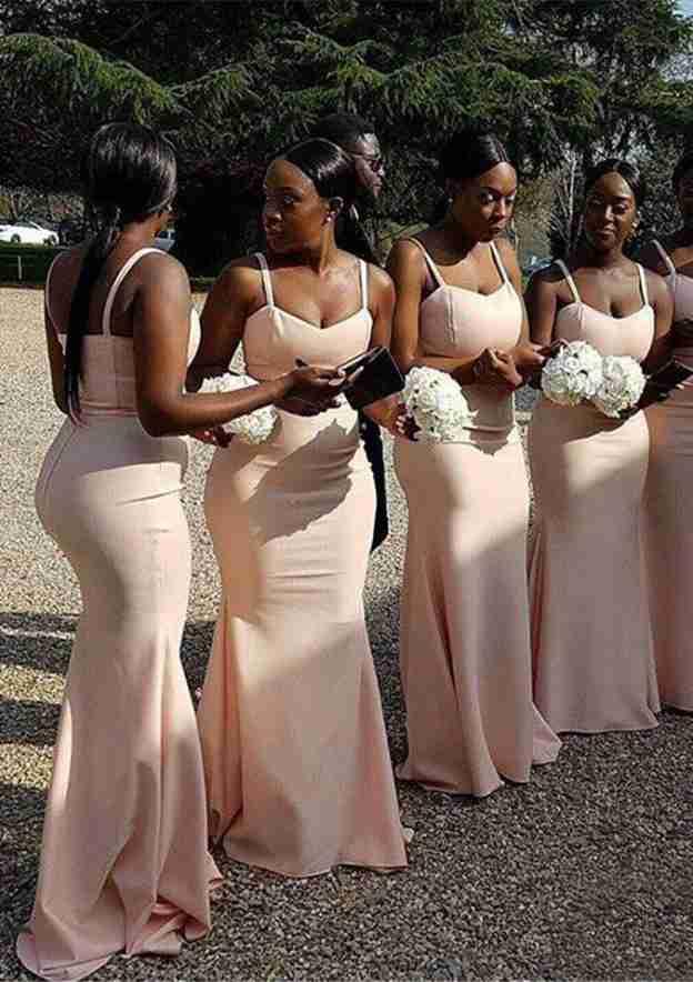 Sheath/Column Scalloped Neck Sleeveless Long/Floor-Length Elastic Satin Bridesmaid Dresses