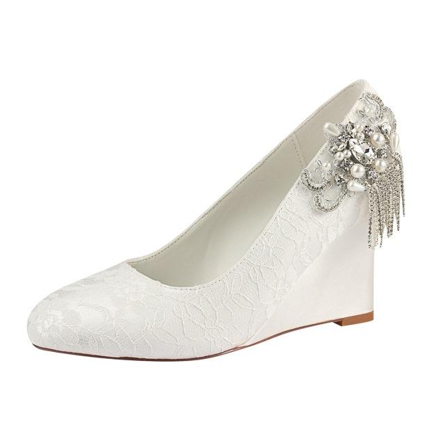 Close Toe Wedge Heel Lace Wedding Shoes With Imitation Pearl Rhinestone