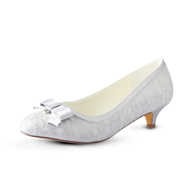 Close Toe Pumps Kitten Heel Pu Wedding Shoes With Bowknot Lace
