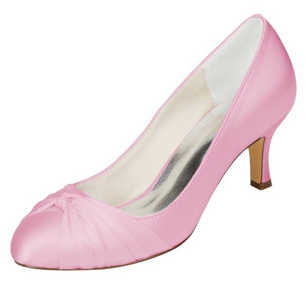 Close Toe Stiletto Heel Charmeuse Wedding Shoes With Ruffles