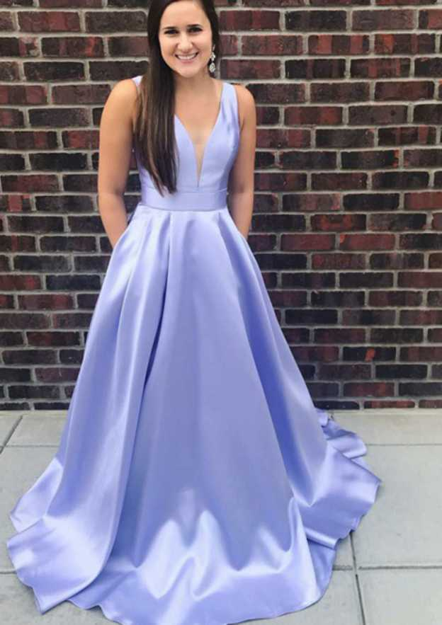 A-Line/Princess Scalloped Neck Sleeveless Sweep Train Satin Prom Dress With Pleated Bowknot