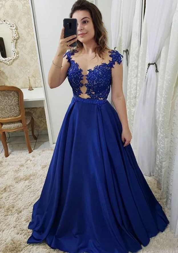 A-Line/Princess Scoop Neck Sleeveless Long/Floor-Length Elastic Satin Prom Dress With Beading Appliqued