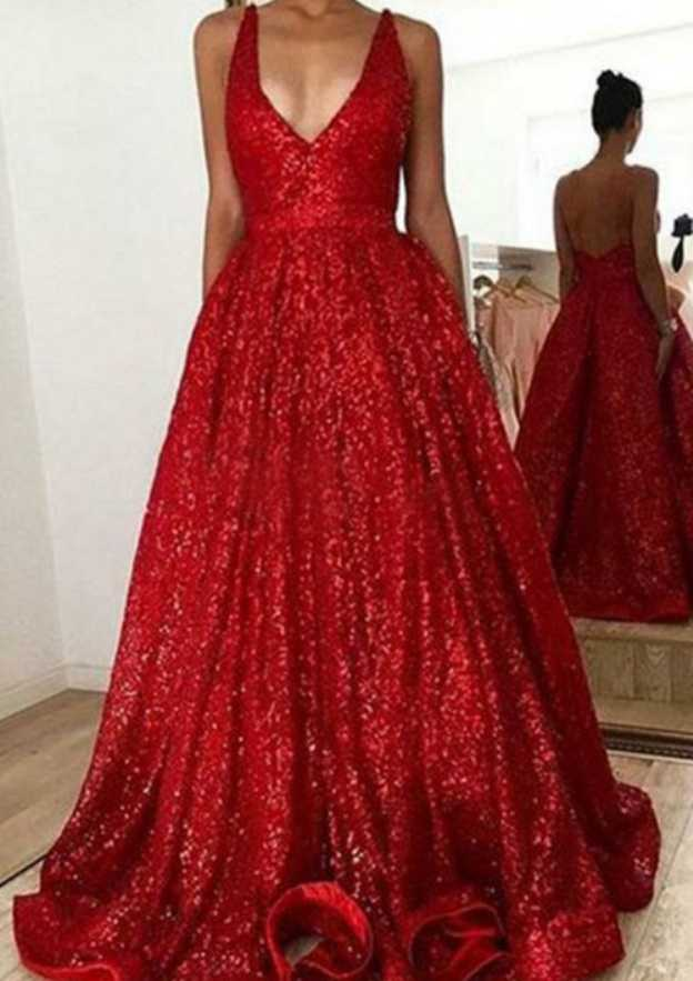 A-Line/Princess Scalloped Neck Sleeveless Sweep Train Sequined Evening Dress With Pleated