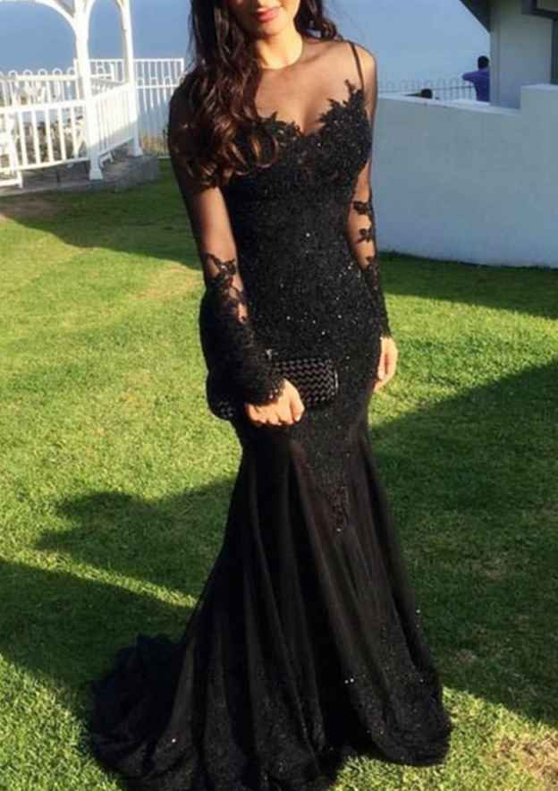 Trumpet/Mermaid Scoop Neck Full/Long Sleeve Sweep Train Lace Evening Dress With Appliqued