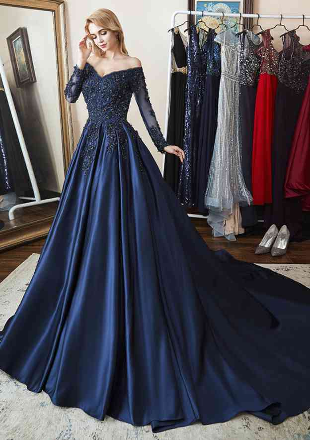 A-Line/Princess Off-The-Shoulder Full/Long Sleeve Chapel Train Satin Evening Dress With Pleated Appliqued Beading