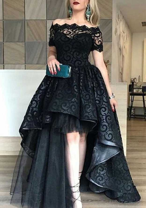 A-Line/Princess Off-The-Shoulder Short Sleeve Asymmetrical Lace Evening Dress With Pleated