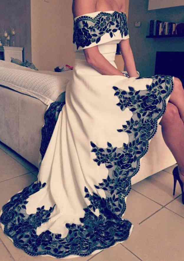 A-Line/Princess Off-The-Shoulder Sleeveless Asymmetrical Elastic Satin Prom Dress With Appliqued