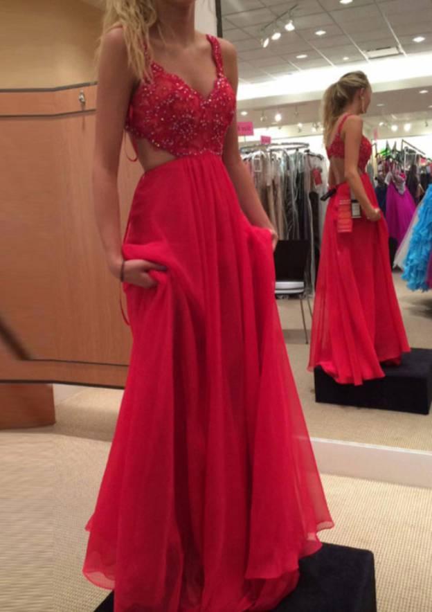 A-Line/Princess V Neck Sleeveless Long/Floor-Length Chiffon Prom Dress With Lace Beading