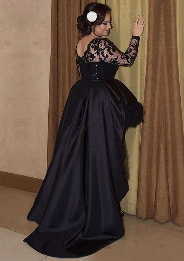Ball Gown Bateau Full/Long Sleeve Asymmetrical Satin Evening Dress With Beading Lace