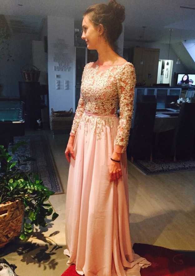 A-Line/Princess Bateau Full/Long Sleeve Sweep Train Chiffon Prom Dress With Waistband Appliqued