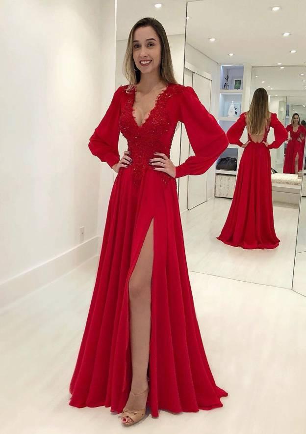 A-Line/Princess V Neck Full/Long Sleeve Long/Floor-Length Chiffon Prom Dress With Split Beading Appliqued