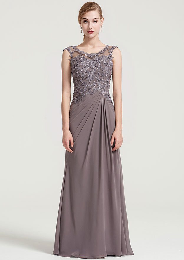 Sheath/Column Scoop Neck Sleeveless Long/Floor-Length Chiffon Dress With Pleated Beading Appliqued