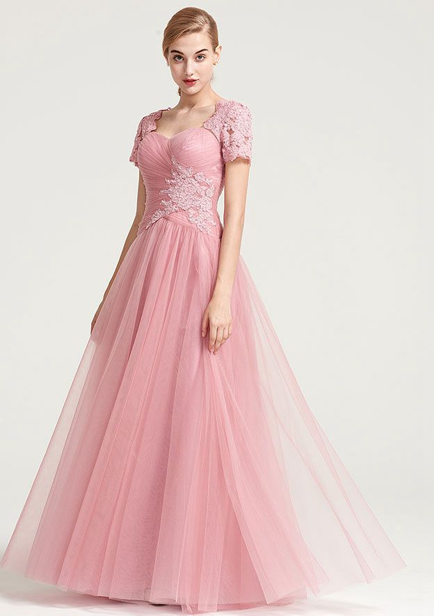 A-Line/Princess Sweetheart Short Sleeve Long/Floor-Length Tulle Prom Dress With Appliqued Pleated