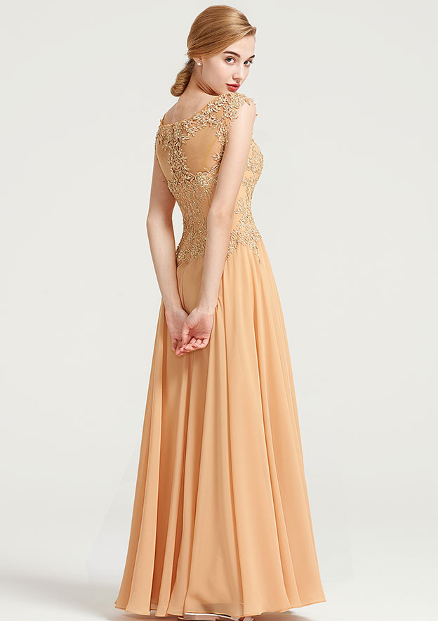 A-Line/Princess Bateau Sleeveless Long/Floor-Length Chiffon Dress With Appliqued