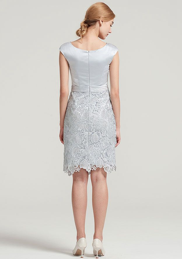 Sheath/Column Bateau Sleeveless Knee-Length Lace Satin Mother Of The Bride Dress With Jacket Flower