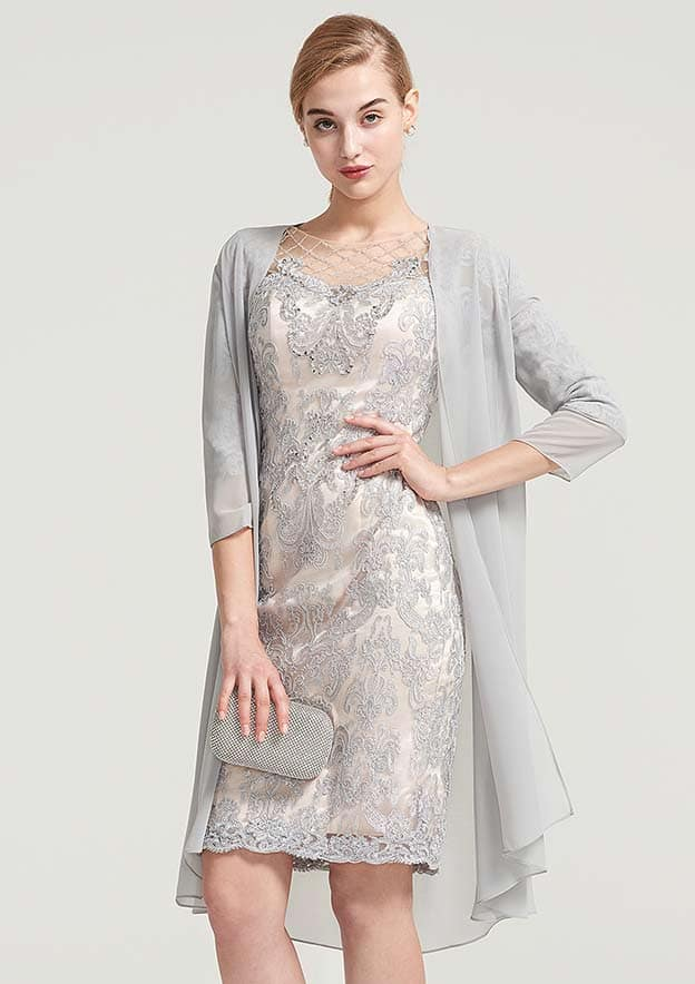 Sheath/Column Bateau Half Sleeve Knee-Length Chiffon Mother Of The Bride Dress With Jacket Beading