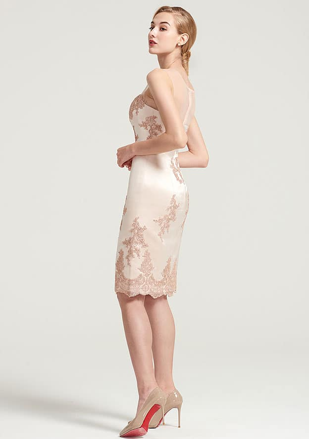 Sheath/Column Bateau Sleeveless Knee-Length Satin Mother Of The Bride Dress With Shoulder Flower Appliqued