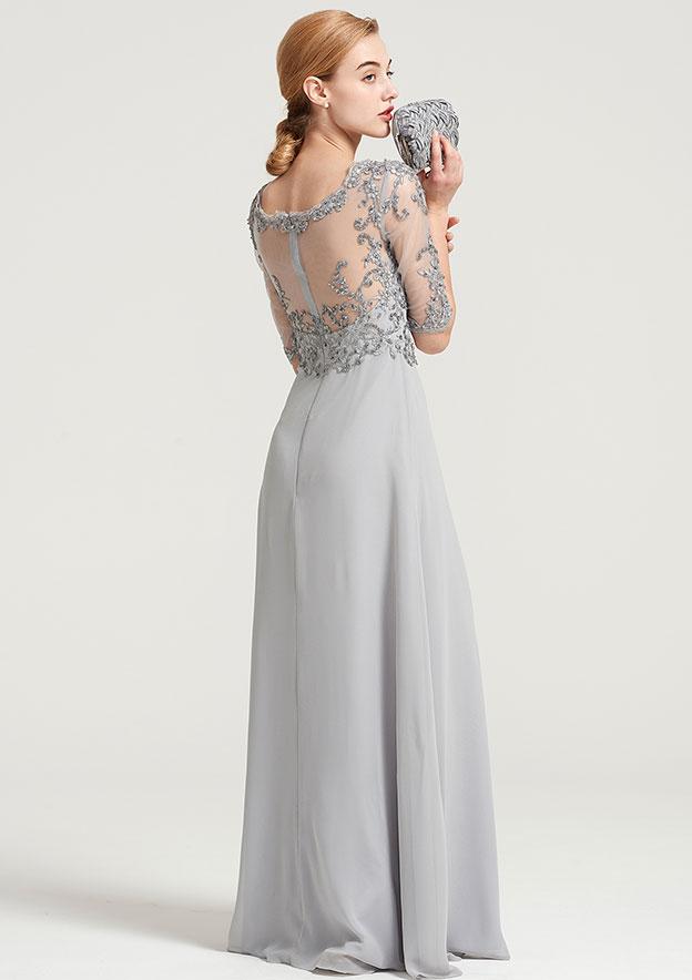 A-Line/Princess Bateau Half Sleeve Long/Floor-Length Chiffon Dress With Sequins Appliqued