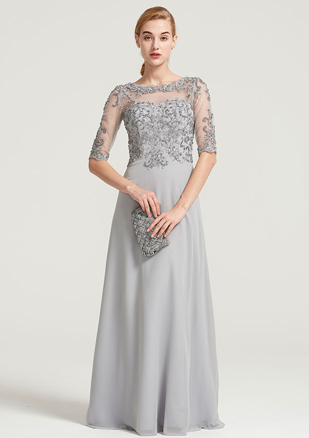 A-Line/Princess Bateau Half Sleeve Long/Floor-Length Chiffon Dress With Sequins Appliqued