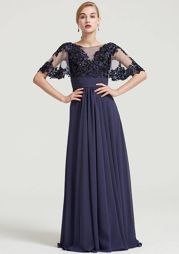 A-Line/Princess Bateau Short Sleeve Long/Floor-Length Chiffon Dress With Pleated Appliqued
