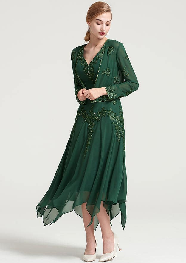A-Line/Princess V Neck Short Sleeve Tea-Length Chiffon Mother Of The Bride Dress With Jacket Appliqued Beading