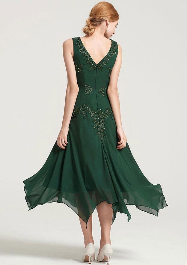 A-Line/Princess V Neck Short Sleeve Tea-Length Chiffon Mother Of The Bride Dress With Jacket Appliqued Beading