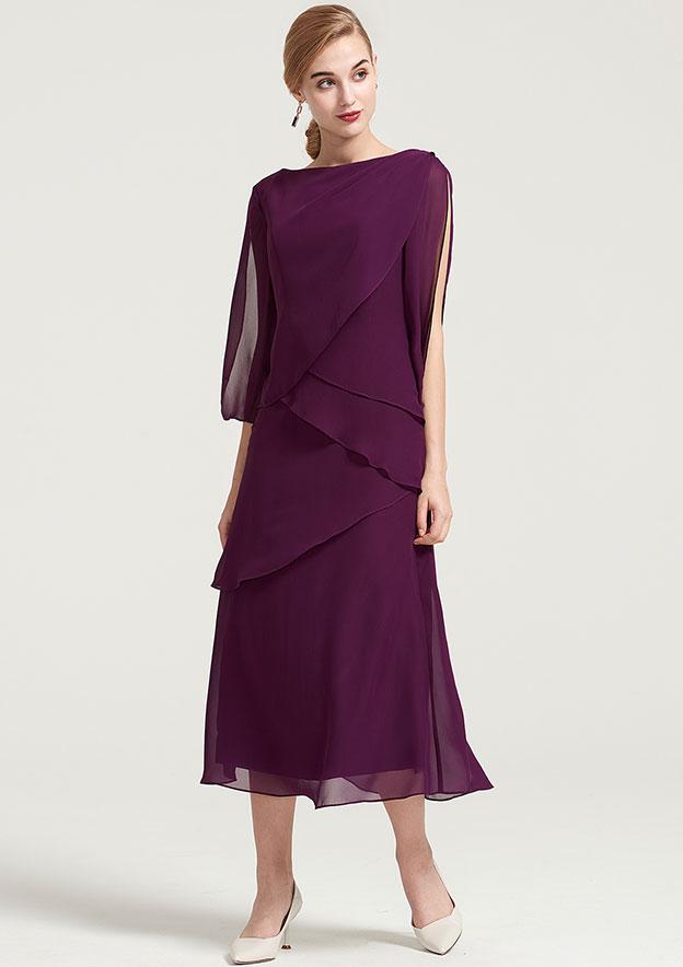 Sheath Floor-Length V-Neck 3-4-Sleeve Chiffon Beading Pleats Dress