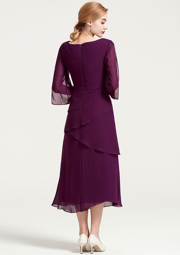 A-Line/Princess Bateau 3/4 Sleeve Tea-Length Chiffon Mother Of The Bride Dress With Ruffles