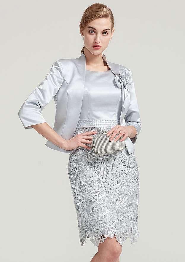 3/4 Sleeve Waist Length Satin Jacket With Shoulder Flower