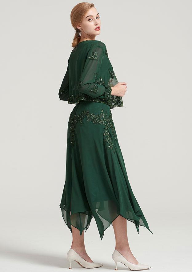 Full/Long Sleeve Waist Length Chiffon Jacket With Appliqued Beading