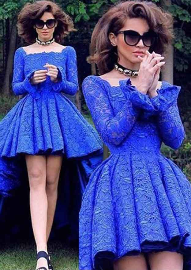 Ball Gown Scalloped Neck Full/Long Sleeve Asymmetrical Lace Prom Dress