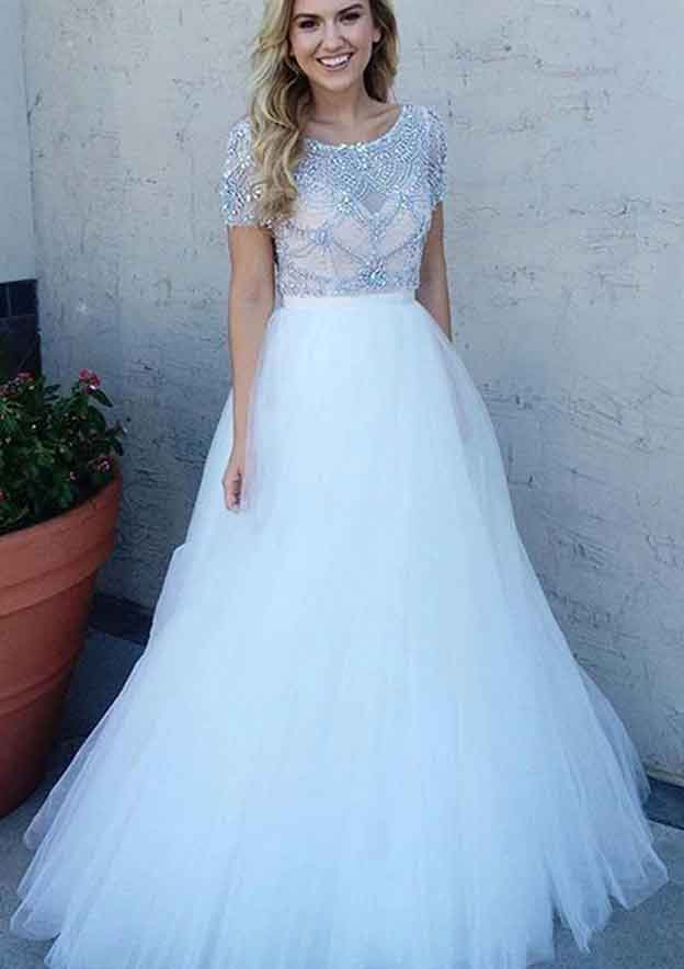A-Line/Princess Bateau Sleeves Long/Floor-Length Tulle Prom Dress With Beading
