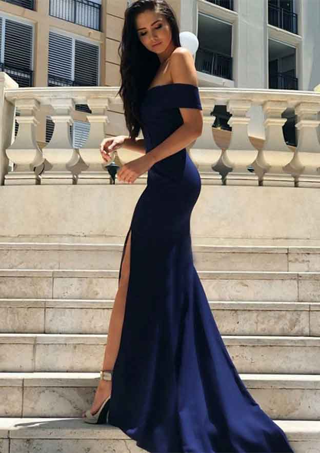 Trumpet/Mermaid Off-The-Shoulder Short Sleeve Court Train Jersey Prom Dress With Split