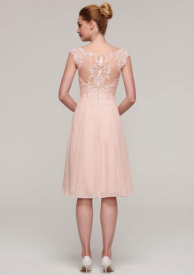 A-Line/Princess Bateau Sleeveless Knee-Length Chiffon Mother Of The Bride Dress With Jacket Appliqued Beading