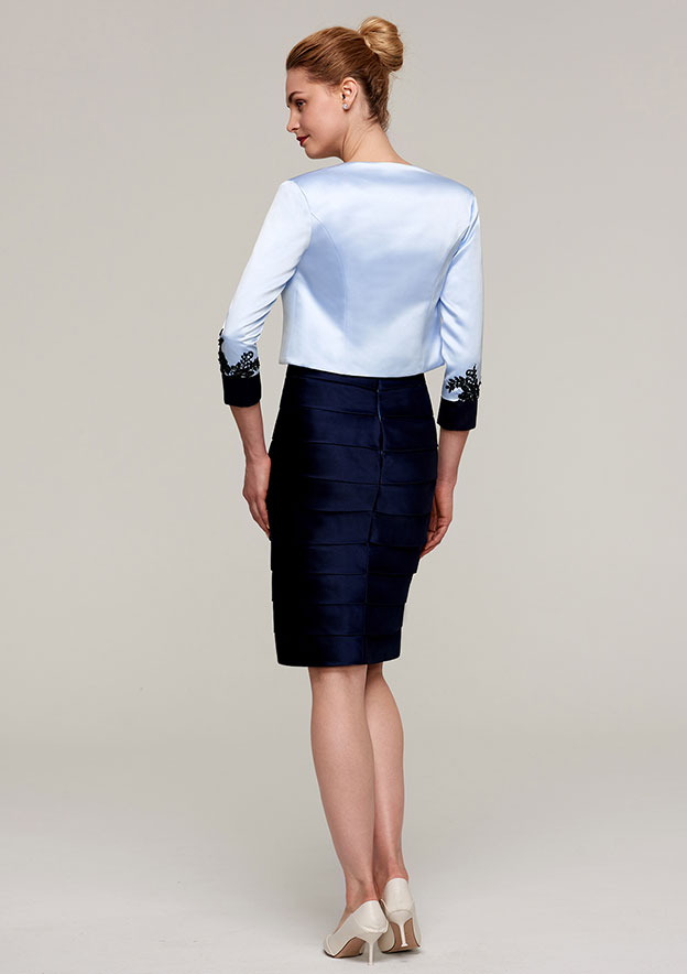 3/4 Sleeve Waist Length Satin Jackets & Wraps With Appliqued