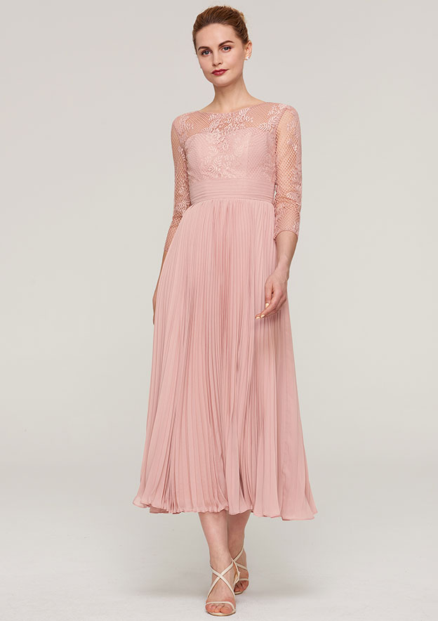 A-Line/Princess Bateau 3/4 Sleeve Tea-Length Chiffon Mother Of The Bride Dress With Lace Pleated